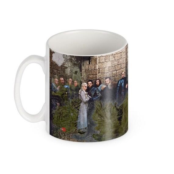 Game of Thrones Panoramic KiSS Mug - Lannister, Targaryen, Stark, Tyrell, White Walkers - Jon Snow,Daenerys - gift idea her/him map season 8