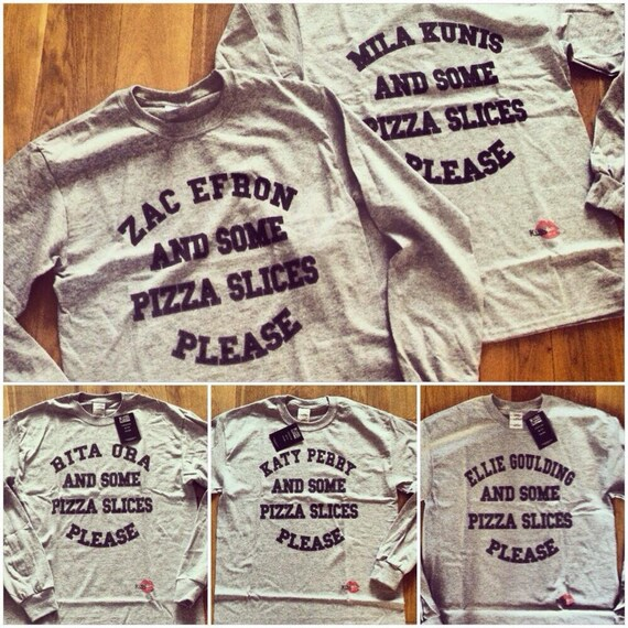 And Some Pizza Slices Please KiSS Baseball T-Shirt - Any Name - Mila Kunis Zac Efron - You Choose - Personalised - Celebrity Crush