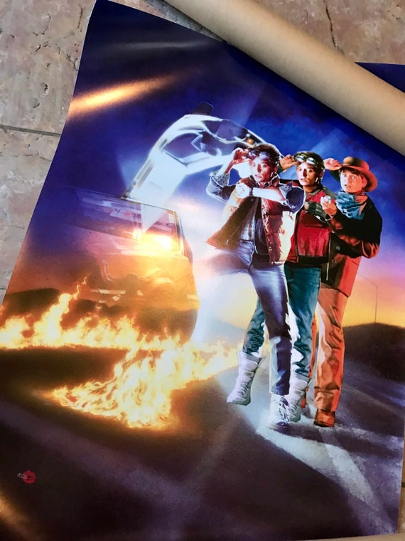 Back To The Future inspired KiSS Poster - Trilogy Wall Art - Marty McFly 80s Delorean, Doc - Michael J Fox