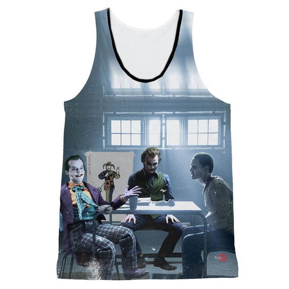 3 Jokers KiSS Basketball Vest - Jack Nicholson, Heath Ledger, Jared Leto - Why so Serious Joker - Batman - Suicide Squad Joker Cards