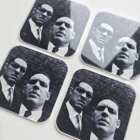 Tom Hardy The Krays KiSS Coasters - Kray Twins, Legend, Gangsters selfie - home decor - Valentine present idea - living dining room - unique