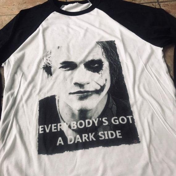 Dark Side Joker KiSS Baseball T-Shirt - Heath Ledger, Smile, Dark Knight inspired - Movie fan gift idea for him and her- darkest timeline