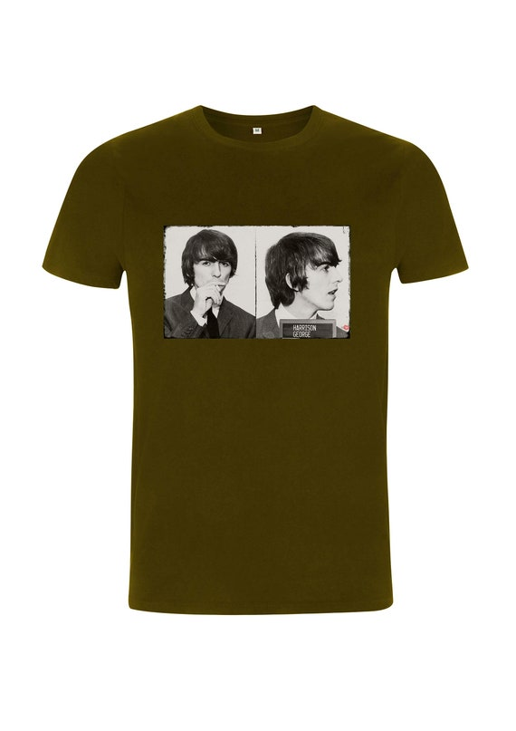 George The Beatles KiSS T-Shirt - Harrison - Mugshot style - 60s music iconic - Indie gift idea