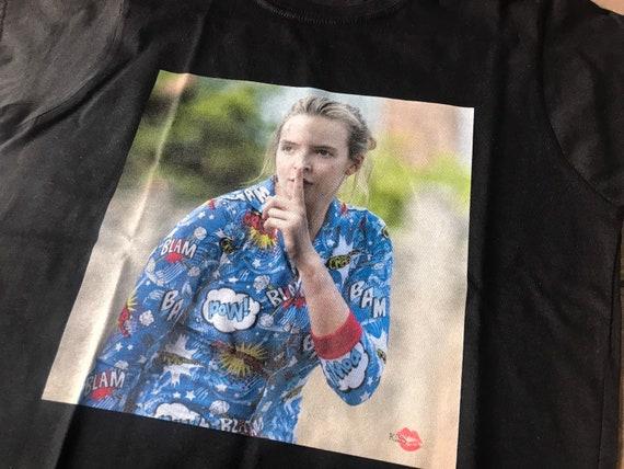 Villanelle Shh KiSS T-Shirt - Killing Eve Inspired - Jodie Comer New Tv Show Season - British Assassin - Black Comedy Dark Timeline