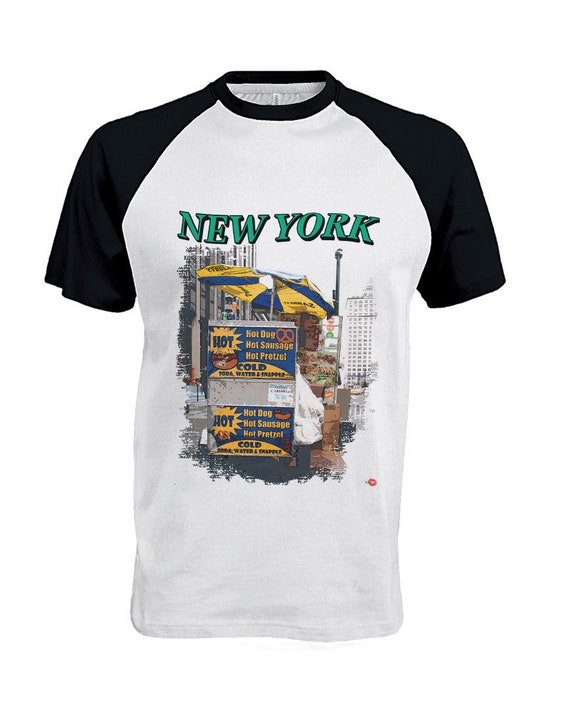 New York Hot Dog Cart KiSS Baseball T-Shirt - NYC Manhattan - Street - Food