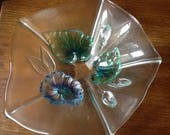 Vintage Glass Bowl German Vintage Glass Waltherglass bowl Art Deco Glass Bowl Glass Flower Bowl Blue and Green Glass Flowers