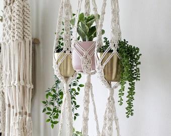Double Macrame Plant Hanger, Large Hanging Planter, Vertical Garden, Large Plant Basket, Gift for Plant Lover