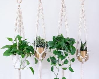 Macrame Plant Hanger, Macrame Hanging Basket, Mom Gift, Indoor Plant Stand, Hanging Plant Stand
