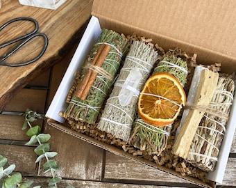 White Sage Alternative Gift Set, Smoke Cleansing Kit, Juniper, Blue Sage, Yerba Santa, Cedar, Smudge Sticks, Sage Kit, Selenite, Palo Santo
