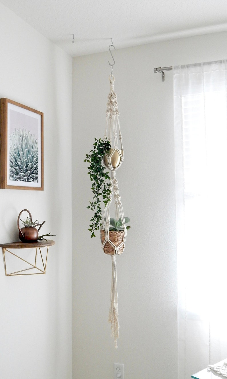 Double Macrame Plant Hanger Hanging Planter Christmas Gift image 0