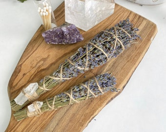 Lavender Bundle with Clear Crystal Quartz, Dried Lavender, Smudge Sticks, Lavender Smudge Stick, Dried Herbs, Cleansing Kit, Smoke Cleansing