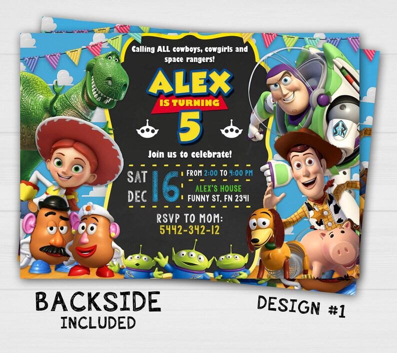 Toy Story Birthday Invitation Invitations Party Chalkboard
