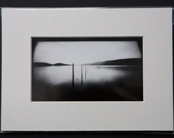 In to the lake, Silver gelatin print Darkroom print Contact print, 6x12 cm copy, pinhole camera, Holga 120WPC, Back and white