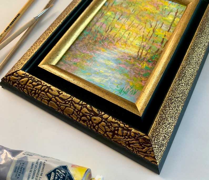 Russian Fine Art Impressionist Painting Autumn Park Alley Framed Autumn Landscape Small autumn oil painting painting original