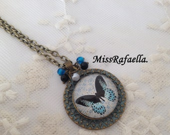 Vintage Blue butterfly cameo necklace.