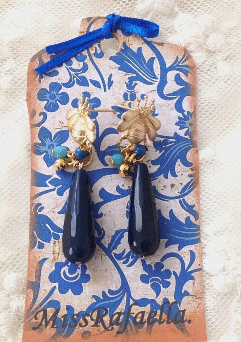Bee earrings and Blue jade.