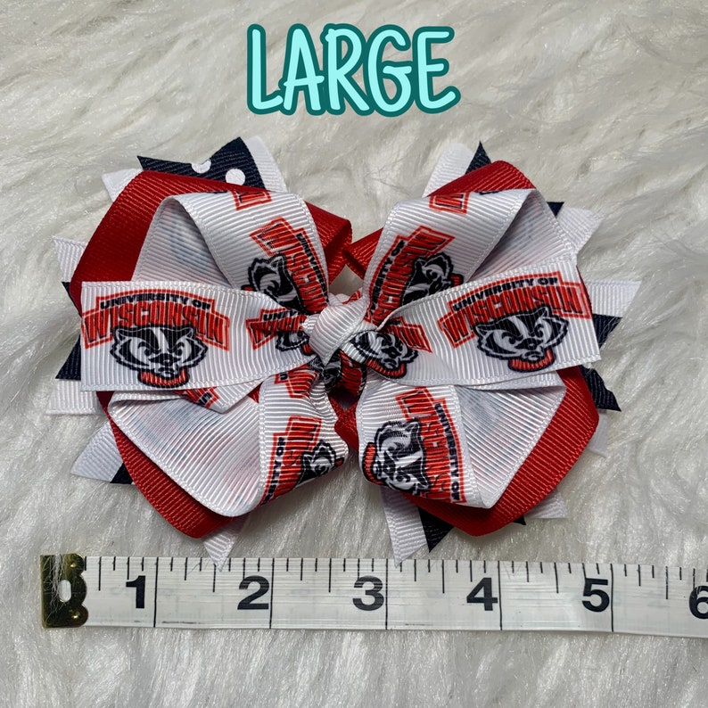 Wisconsin Badgers Inspired University College Hair Bow Barrette Clip Headband