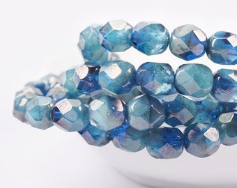 Czech glass beads-Fire polished faceted round beads-6mm-Blue Petrol Teal Marble Luster-20 PCs