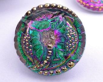 Czech glass knot-petals-27mm-green Purple Gold knot-1 piece