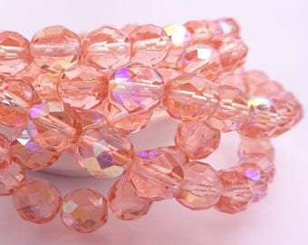 Czech glass beads-Fire polished faceted round beads-8mm-Salmon orange AB Aurora Borealis-25 pcs