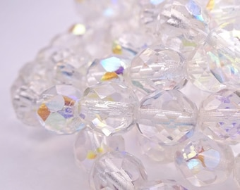 Czech glass beads-Fire polished faceted round beads-8mm crystal clear AB Aurora Borealis-25 pcs