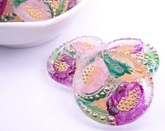 Czech glass knot-petals-27mm-transparent green purple pink gold knot-1 piece