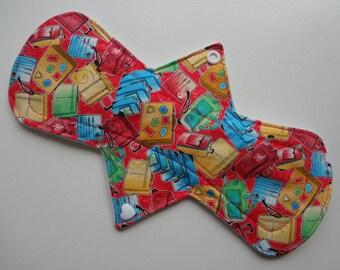 "10"" Regular Flow - Bright Travel Bag - Waterproof Reusable Cotton Cloth Sanitary Pad"
