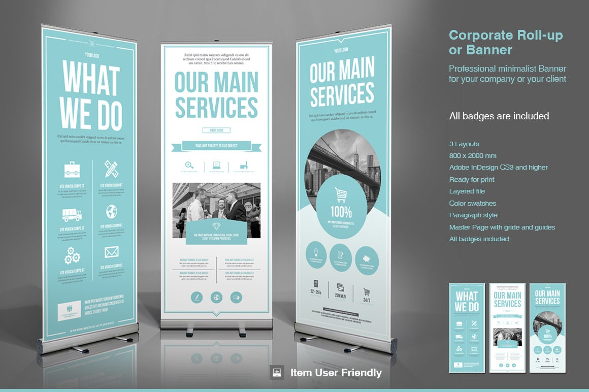 Business Roll-Up Banner InDesign Template | Etsy