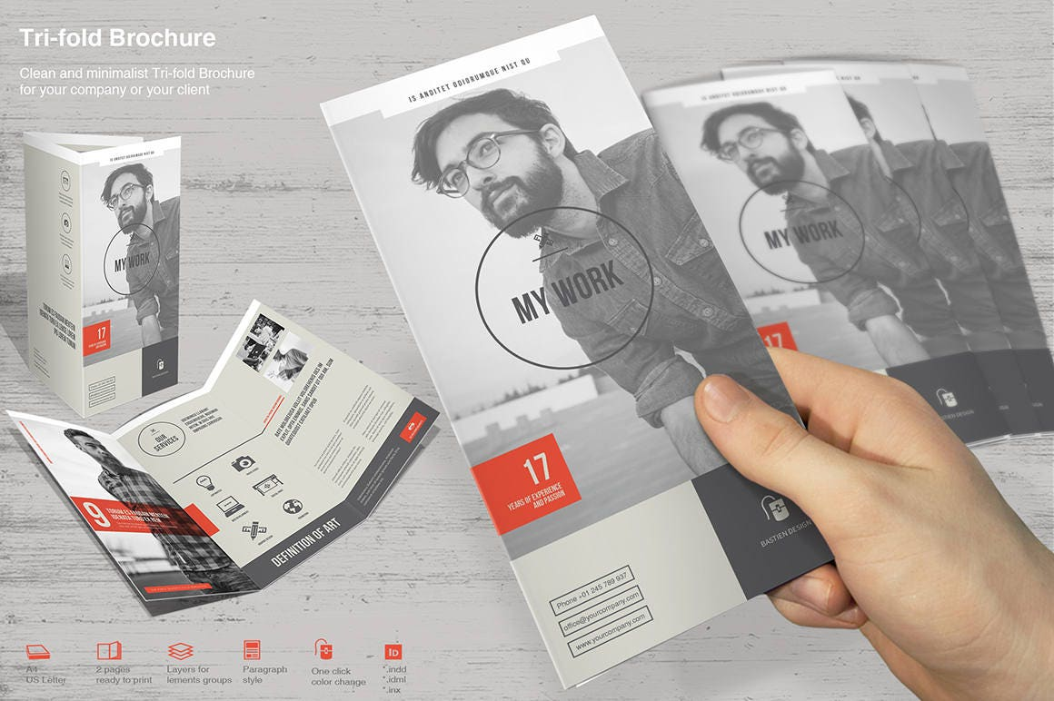 Tri-fold Brochure impresión plantilla Plantilla de InDesign   Etsy