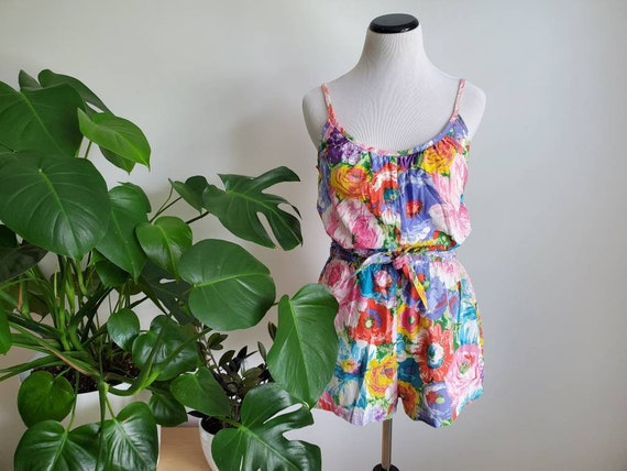 Size XS-S Yellow Pastel Blue 1960/'s Playsuit Romper Skort and Brown