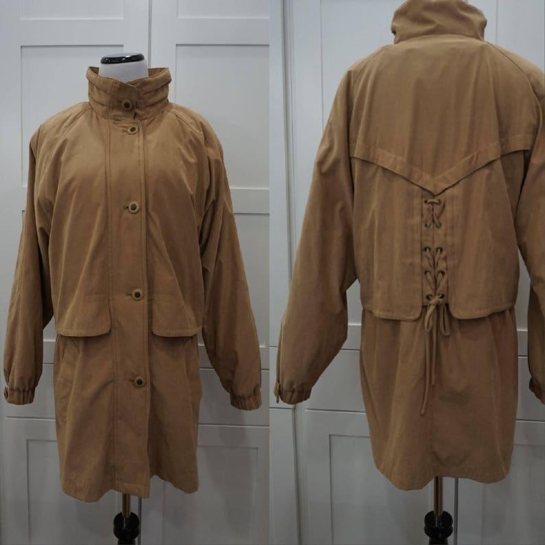 24203f1da45 Tan Women's Rain Coat Jacket with Back Corset Lace Detail   Etsy