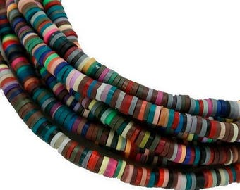 Mixed Colour Polymer Clay Disc Beads - 100 pieces - 6mm - Jewelry Making