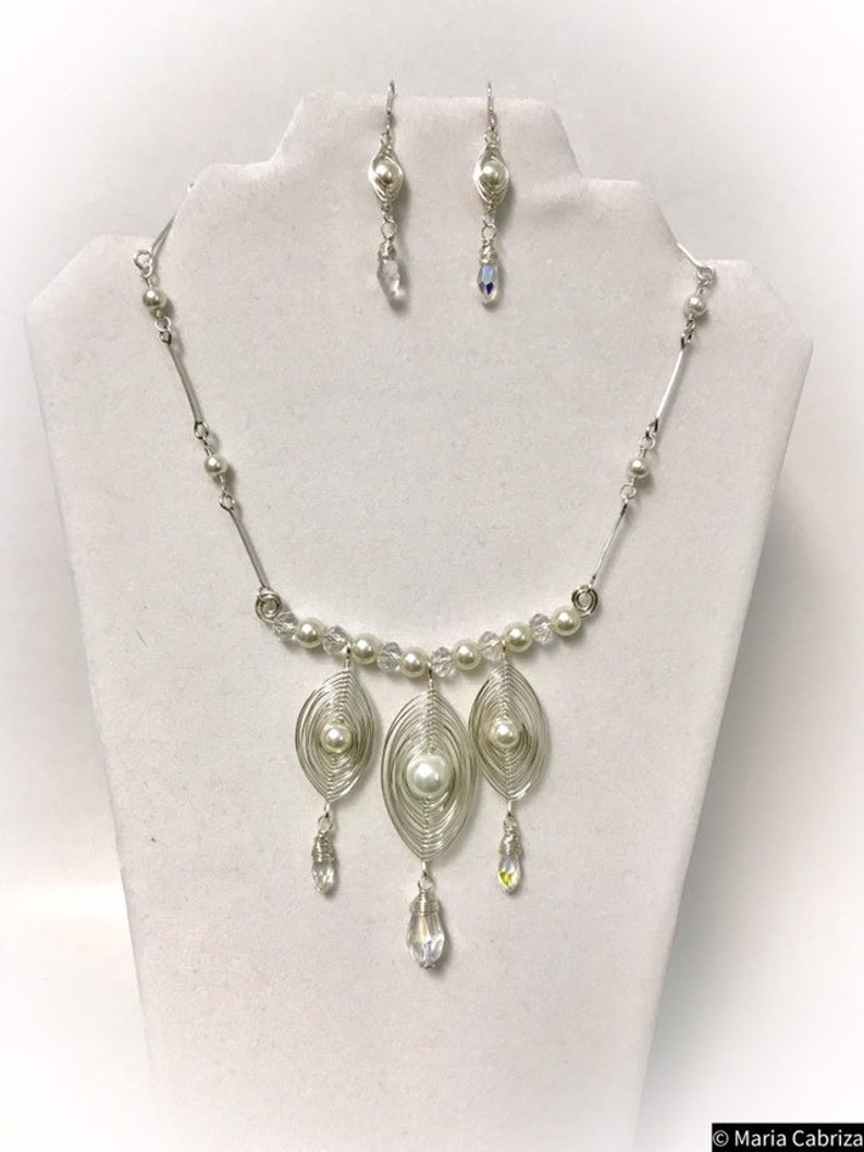 Handmade Jewelry Glass pearl Necklace and earring set-Bridal set. Jewelry Wedding Jewelry Set Wire wrapped Jewelry