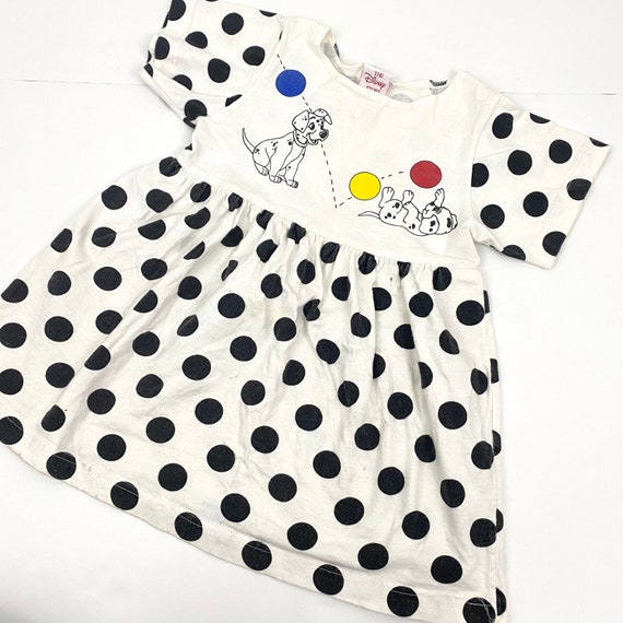 Pinafore Vintage 90s Disney 101 Dalmatian Girls halter size 6 dress retro toys dog puppy black white spot