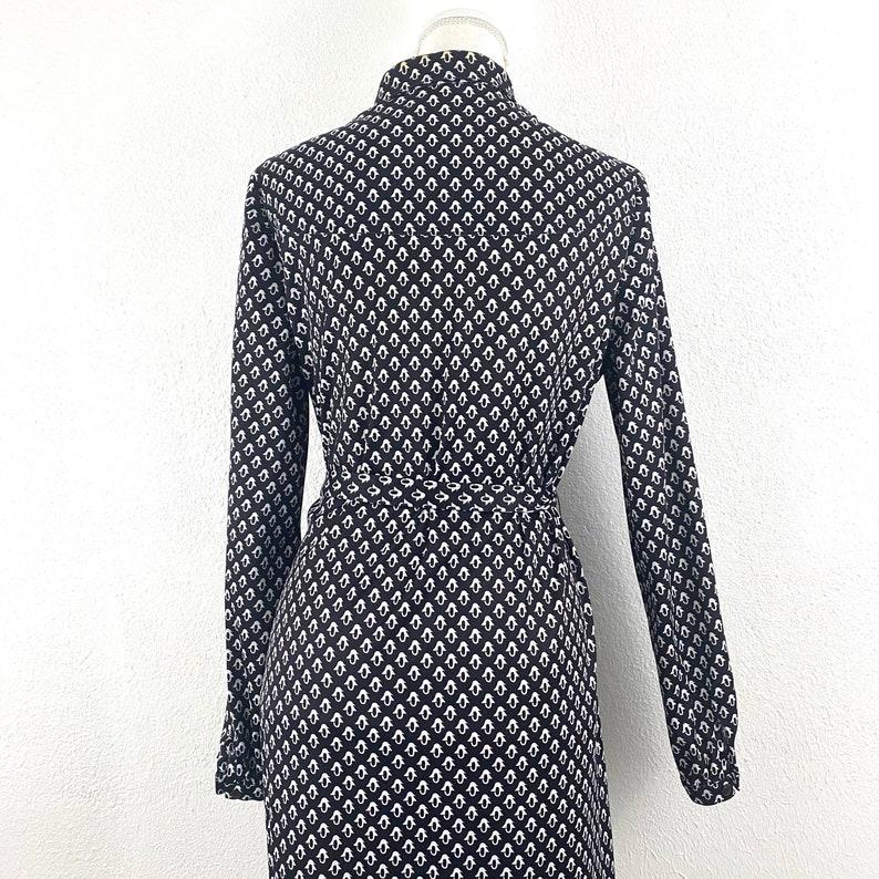 Vintage Just Mort Sz ML Shirt Dress 1960s Penguin Graphic Mod Black White Belted
