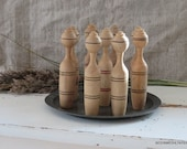 Vintage wooden skittles game - Set of 9 rustic bowling pins - Primitive wooden toy