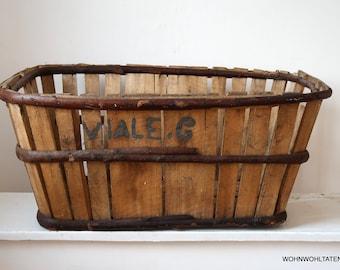 French antique wooden basket - Large handmade obolong storage basket made of wood - Primitive transport box from France