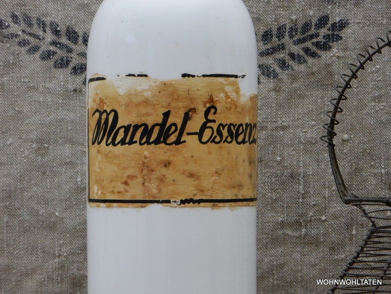 RAR 34.5 cm Pharmacy Bottle with Original Sticker MANDEL ESSENZ Large White Storage Bottle Antique Opal Glass Pharmacist Bottle