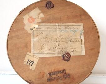 Antique handmade 1899 bentwood box - Original round wooden cake container - CAFE POLLENDER - German chipwood transport - RARE box
