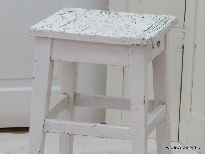 Antique white kitchen stool Original Paint Rustic wooden stool White  kitchen chair Primitive side table