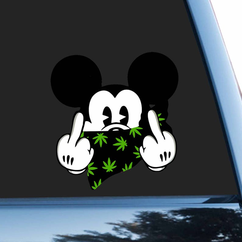d9795b79852 Car Sticker Disney Bumper Sticker Mickey Mouse Car Decal Rude