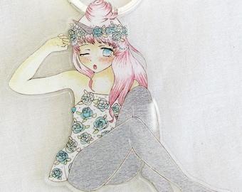 Kawaii Unicorn Girl Bag Charm Key Chain Cute Pastel Etsy