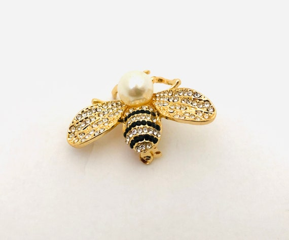 Black /& Red Diamanté /& Pearl Bee Brooch Vintage Style Gold Sparkle Bee Brooch