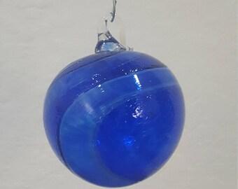 Christmas:Handblown Blue Ornament