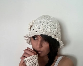 Beige women summer hat Women's sun hats Ladies Crochet hat  Girls knit hat Cotton hat with flower Lace Summer Brimmed Crochet cotton hat