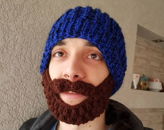 d0b98527 Knit beard hat | Etsy