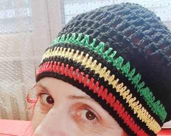 da9e53510c6 Summer Rasta hat Rasta beanie Knit Jamaica hat Vegan oversize hat Jamaica  slouch beanie hat Reggae hat Rastafarian cap Bob Marley hat beanie