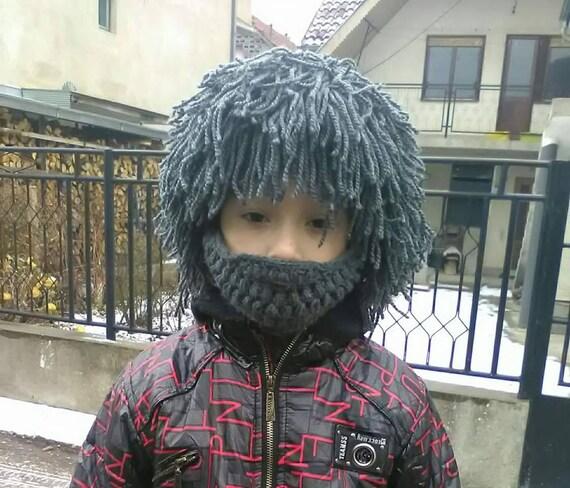Kid es grau Perücke Haar Hut Perücke Mütze mit Bart zu häkeln | Etsy