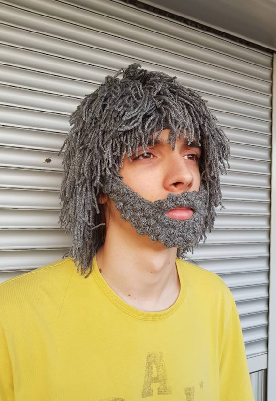 Armycrew Caveman Beard Beanie Wig for Halloween Fun Party for Youth to Adult