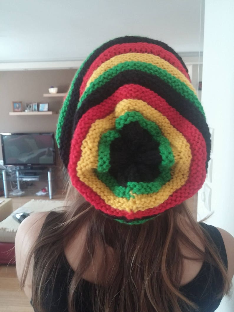 ea6a223bcca Rasta hat Rasta beanie Knit Jamaica hat Vegan oversize hat